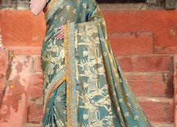 SILK BEADS WORK TRADITIONAL SAREE