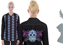 Sugar Skull Long Sleeve Button Up