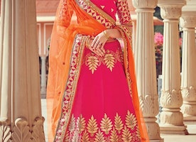 ORANGE AND ROSE PINK TRENDY LEHENGA CHOLI FOR BRIDAL