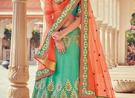 BEADS WORK TRENDY A LINE LEHENGA CHOLI FOR BRIDAL