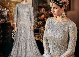 Different Styled Grey Evening Gown Suit With Sleeves For Function