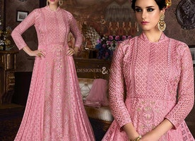 Dignified Pink Floor Touch Gown For Attractive Doll Look
