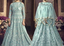 Distinctive Sky Blue Gown Design For Reception To Be Elegant