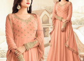 Attractive Peach Designer Gown For Sangeet To Be Delicate