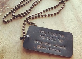 Custom coordinates dog tag necklace