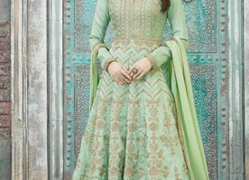 ART SILK FLOOR LENGTH KALIDAR SUIT