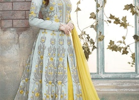 GREY AND YELLOW PANT STYLE DESIGNER SALWAR KAMEEZ