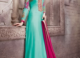 VOLUPTUOUS PATCH BORDER WORK PAKISTANI SALWAR KAMEEZ