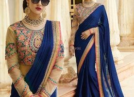 Blue Art Silk Saree With Contrast Border & Fancy Work For Party