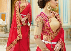 Red Art Silk Lace Worked Beautiful Saree With Modern Style Online