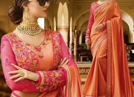 Orange Art Silk Dual Laced Border Party Wear Saree For Mehendi