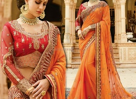Stylish Orange Colored Saree With Pretty Embroidered Border Design
