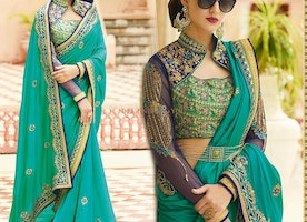 Trendy Green Art Silk Collared Neckline Saree With Zari Lace Work