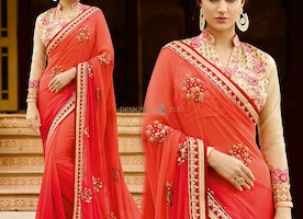 Stylish Orange Colored Georgette Saree With Low Price For Party