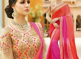 Fancy Orange And Pink Faux Georgette Saree Online For Reception