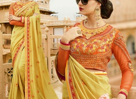 Yellow Jewel Necked Party Wear Saree Online For Social Gathering