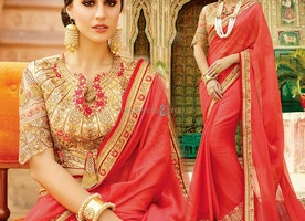 Red V-Necked Trendy Smart Looking Sequins Saree For Young Ladies