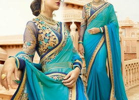 Sweetheart Necked Green And Blue Modern Saree For Get-To-Gather