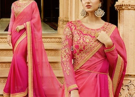Latest Fancy Pink Designer Full Sleeves Round Necked Saree Blouse