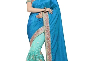 BLUE AND TURQUOISE BEADS WORK HALF N HALF TRENDY SAREE