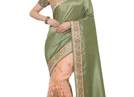 OLIVE AND PEACH BEADS WORK HALF N HALF SAREE