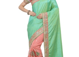 SALMON AND SEA GREEN BEADS WORK HALF N HALF TRENDY SAREE