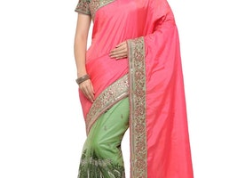 OLIVE AND ROSE PINK ART SILK HALF N HALF SAREE