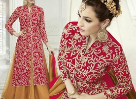 Well Patterned High Fashion Red Indian Fancy Suit For Engagement