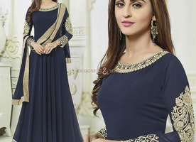 Attractive Blue Bollywood Gown Worn By Heroine Krystle D'Souza