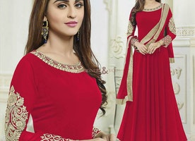 Long Red Gown Type Bollywood Suit Motivated By Krystle D'Souza