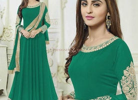 Devastating Green Bollywood Dress Worn By Actress Krystle D'Souza