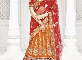 BOOTI WORK ORANGE AND RED A - LINE LEHENGA