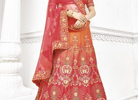 ORANGE AND ROSE PINK A LINE LEHENGA CHOLI FOR BRIDAL