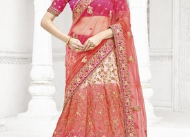 EMBROIDERED WORK OFF WHITE AND ROSE PINK NET TRENDY LEHENGA CHOLI