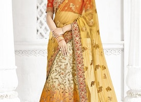 NET CREAM AND MUSTARD TRENDY A LINE LEHENGA CHOLI