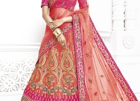 NET CORAL AND ROSE PINK LEHENGA CHOLI