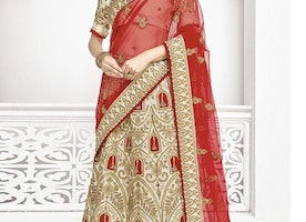 OFF WHITE AND RED SILK A - LINE LEHENGA FOR BRIDAL