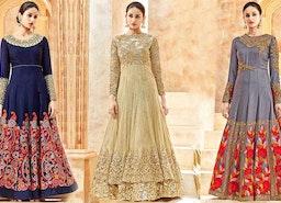 Anarkali Dress Pattern: Girls Lehenga Style Semi Stitched Anarkali Umbrella Frock Suit Neck Design