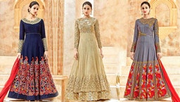 Anarkali Dress Pattern: Girls Lehenga Style Semi Stitched Anarkali Umbrella Frock Suit Neck Design