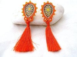 long tassel clip on earrings - pumpkin spice orange jewelry gift - azulejos Portugal tile replica - ethnic ceramic Moroccan statement jewels