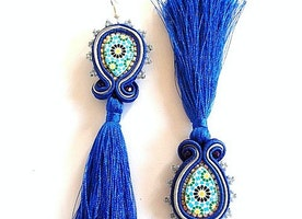 Navy blue long tassel earrings - Moroccan pottery design azulejos earrings - Tassel dangle drop earring - bohemian jewelry gift for her