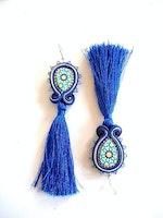 Navy blue long tassel earrings - Moroccan pottery design azulejos earrings - Tassel dangle drop earring - bohemian jewelry gift for her