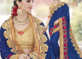 Blue Ceremonial Floral Embroidered Designer Saree With Open Back