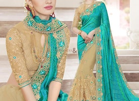 Beige Green Broad Border Worked Half Saree For Mehendi Function