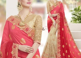 Beige Red Peach Party Wear Half Saree With Keyhole Neck Blouse