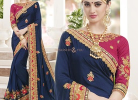 Pretty Blue Boutique Style Designer Saree Blouse For Reception