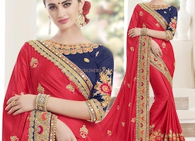 Red Embroidered Contemporary Designer Saree With Boat Neck