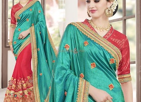 Beautiful Looking Green And Red Half Saree With Dual Laced Border