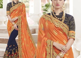 Stylish Orange Blue Jewel Necked Half Saree Blouse For Party Wear