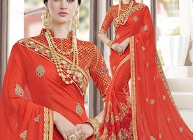 Gorgeous Bright Orange Saree With Stand Collared Blouse Design